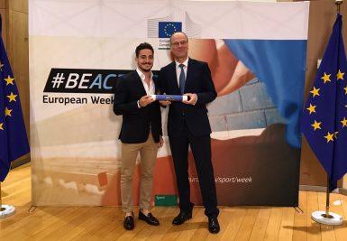 Con el comisario europeo de Deportes, Tibor Navracsics