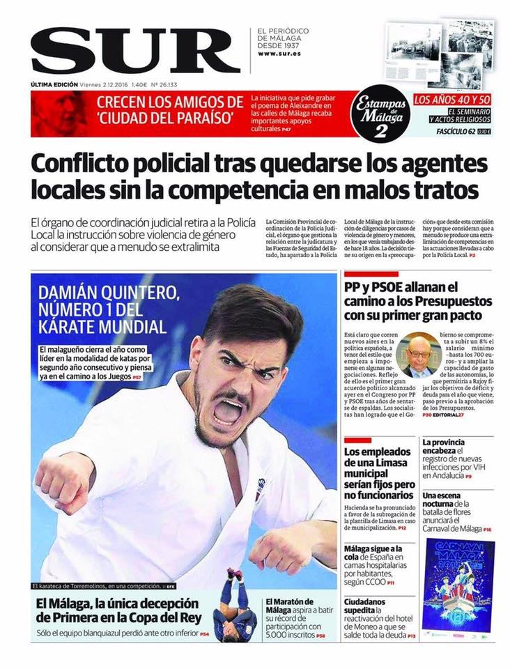 Damian Quintero portada Diario SUR Malaga