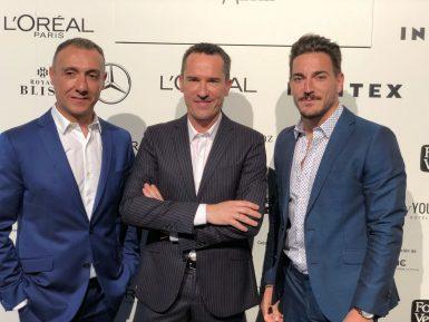 Con Manuel (en el centro) y David, durante el photocall de la MBFW.